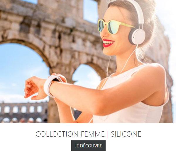 Montre femme bracelet silicone